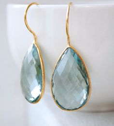 teal quartz teardrop earrings