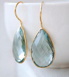 teal quartz teardrop earrings