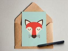 """Geburtstag - """"Fuchs I love you"""" Postkarte Klapp-Karte Grußkarte - ein Designerstück von Ediths-Art bei DaWanda"""