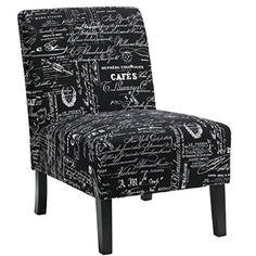 Cortesi Home CH-AC520947 Chicco Fabric Armless Accent Chair, Black Script