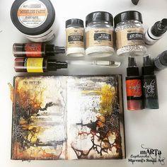Marta Lapkowska: Love for Art Journaling - Arte Deco Artist Journal, Art Journal Pages, Art Journals, Mixed Media Journal, Mixed Media Canvas, Mixed Media Art, Bullet Journal Book, Junk Journal, Mix Media