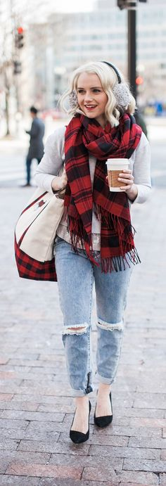 How To Style A Red Buffalo Check Scarf For Winter - Poor Little It Girl