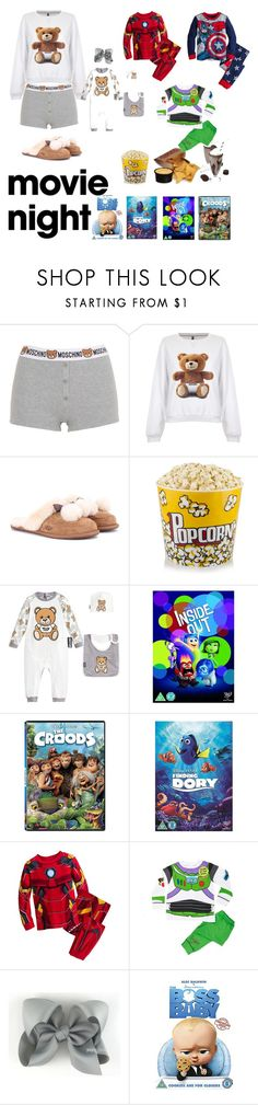"""""""movie night"""" by effortless-and-natural ❤ liked on Polyvore featuring Moschino, UGG, Disney Pixar Finding Dory and Marvel"""