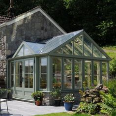 Have the conservatory/greenhouse attached to the kitchen with doors to the back patio Orangery Conservatory, What Is A Conservatory, Conservatory Design, Extension Veranda, Skylight Shade, Stone Houses, Glass House, Winter Garden, Cabana