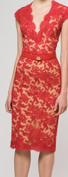 Red lace with nude lining
