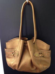 Cole Haan Metallic Pebbled Leather Bronzed Gold Handbag Satchel hobo #ColeHaan #MetallicHandbag