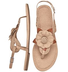 Welcome to AVON - the official site of AVON Products, Inc.  http://youravon.com/byjrgonzalez Bloom Sandal Offset your brights with tan blossom-embellished sandals. Adjustable ankle strap. Suede-like footbed. Skid-resistant sole. Half sizes order one size up. Reg. $24.99 Sale $19.99 Intro Special - SAVE 20%!