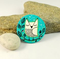 Sleepy Owl hand painted turquoise ceramic brooch  by PumpkinDesign, $19.00