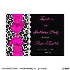 "Fabulous Hot Pink Leopard Birthday Party Black 5"" X 7"" Invitation Card"