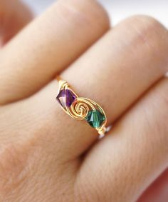 Golden Peacock Wire-Wrapped SWAROVSKI Crystal Ring #shoplately #wirewrappedringscrystal