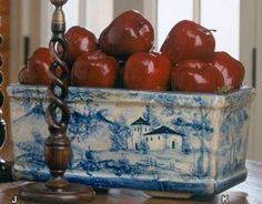 French Country Blue Toile Planter