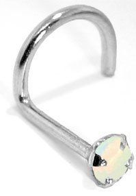 3.0mm White Opal - 950 Platinum Nose Ring Twist - 18 Gauge FreshTrends. $74.80. Made from solid platinum. Save 47% Off!