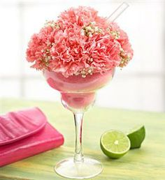 Pink Mini Margarita - pink carnations in floral foam, accented with fresh gypsophilia 21st Birthday Bouquet, 21st Birthday Centerpieces, 90th Birthday, Birthday Ideas, Margarita, Mother's Day Bouquet, Small Centerpieces, Pink Carnations, Floral Foam