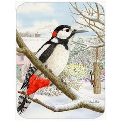 Caroline's Treasures Spotted Woodpecker Glass Cutting Board