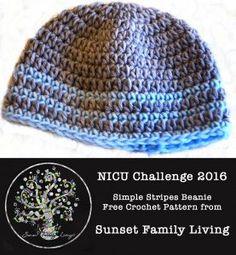 Simple Stripes Beanie | Free Crochet Pattern | 2016 NICU Challenge