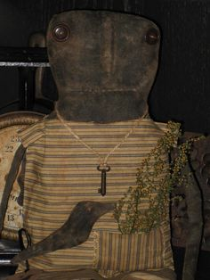Extreme PRIMITIVE Black Folk Art Doll w/ Crow and Key #BlackFolkArt #artist