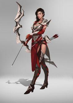 Resultado de imagem para archer arqueiro art fantasy concept Fantasy Female Warrior, Female Armor, Anime Warrior, Fantasy Armor, Fantasy Women, Fantasy Girl, Medieval Fantasy, Woman Warrior, Female Character Concept