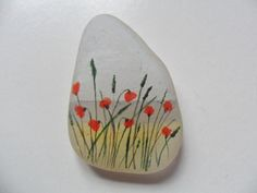 Poppies on the beach miniature painting on por UKSeaGlassStore