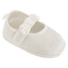 Baby Girls Faux Satin Mary Jane Christening Shoes -- Lovely traditional shoes for your baby to wear to the special event. #wedding #christening #church #babyclothing #babyshoes