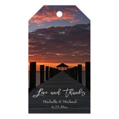 Rustic Wood Pier Gazebo Love And Thanks Wedding Gift Tags Personalize these beautiful custom thank you gift tags. This beautiful tag features nature landscape photography of a beautiful Rodanthe, North Carolina, Cape Hatteras National Seashore sunset with light grey text. Great for a beach, country, rustic, sunset themed or destination wedding.