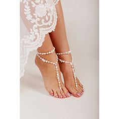 Beaded Barefoot Sandals, Barefoot sandals, Beach wedding Barefoot... ($20) ❤ liked on Polyvore featuring shoes, sandals, beaded bridal shoes, bridal sandals, beach shoes, bride shoes and white pearl sandals