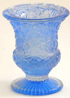 Daisy and Button Soft Blue Glass Footed Urn Shape Toothpick / Match Holder