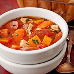 Easy Chicken and Kielbasa Winter Stew.