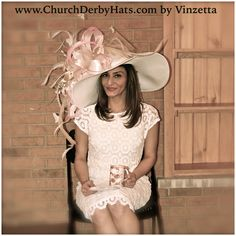 White and pink Hanna hat by Vinzetta Kentucky Derby hats www.churchderbyhats.com