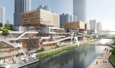Benoy Releases Images of New Waterfront Development in Wenzhou, China is part of architecture - Benoy has released images of their competitionwinning design for a mixeduse, retailled waterfront development in Wenzhou, China Sustainable Architecture, Landscape Architecture, China Architecture, Architecture Diagrams, Architecture Portfolio, Commercial Complex, Commercial Street, Retail Facade, Futuristic Architecture
