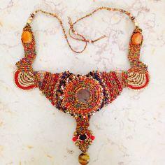 Micro macrame tribal necklace