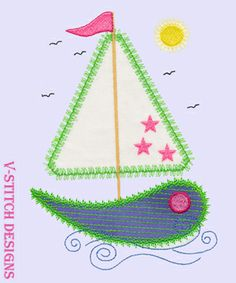 V-Stitch Sail Boats machine embroidery design appliques. 8 designs in the set. Compatible with the Accuquilt GO! cutting dies. Happy Stitching!