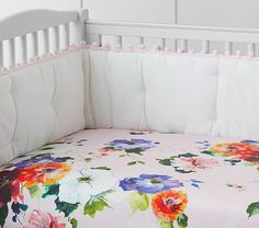 Organic Hannah Floral Crib Fitted Sheet | Pottery Barn Kids