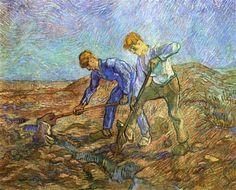 Two Peasants Diging (after Millet)  - Vincent van Gogh