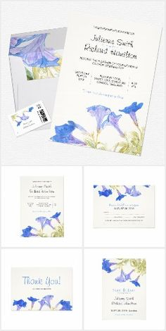 Rustic Floral | Blue Spring Wedding Suite This unique rustic floral wedding suite features an original floral artwork inspired by a bluebells field hand painted by the Spanish artist Olga Pérez.