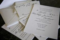 Black & White Letterpress Calligraphy Wedding Invitations