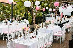 beautiful pink and white lanterns