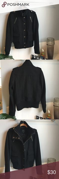 Express Military Coat Black Express Military Coat.  Worn and LOVED!  The sleeve cuffs, collar and bottom of coat are a sweater like material that has pilling (see photos 🤔 although I just watched a YouTube on removing piling that just gave me life 😜).  Still plenty of wear left. Express Jackets & Coats