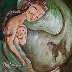 Beyond - green mother and newborn print by Katie m. Berggren