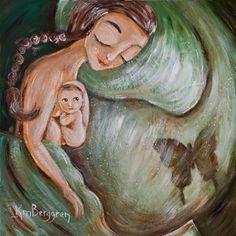 Beyond - green mother and newborn print by Katie m. Berggren