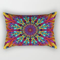 Amazing colors 3D #mandala by Natalia Bykova Rectangular #Pillow at Society6. #psychedelic