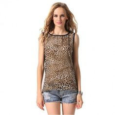 Sexy Women Leopard Chiffon O-Neck Sleeveless Backless Patchwork Casual Tops