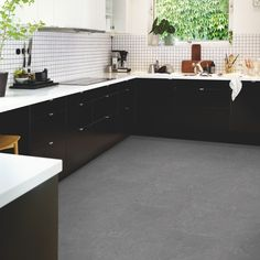 Urban Grey Oak is a dark grey laminate floor with Dark Grey Laminate Flooring, Vinyl Flooring Kitchen, Types Of Wood Flooring, Oak Laminate Flooring, Solid Wood Flooring, Espresso Cabinets, Cork Wood, Grey Oak, Grey Slate