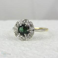 Vintage Green Tourmaline & Diamond Ring in Daisy Setting by Addy