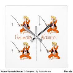 Anime Uzumaki Naruto Fishing On A Hot Summer Day Square Wall Clock