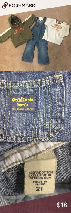 Levi shirt and sweatshirt + Oshkosh overalls!!! Very cute and preloved! No stains that I see. Levi's Matching Sets