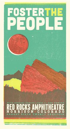 Foster the People, 4-color letterpress show poster, 2014 collaboration with Adrienne Miller