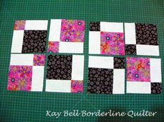 Tutorial for my version of a 'Disappearing Nine Patch' quilt using alternating coloured blocks....  The Quilt can be seen here A Girly Di...