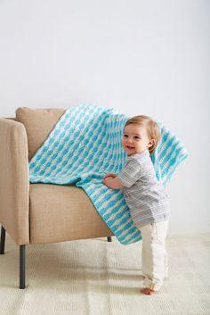 Couverture crochetée pour bébé aux rayures vives en laine Douce accolade de Loops & Threads