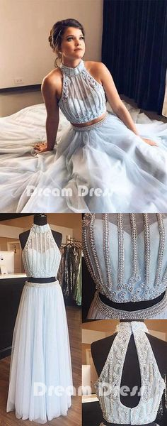 Light blue tulle pearl long prom dress, two pieces evening dresses,PD270014 #promdresses #shopping #fashion #dresses #evening