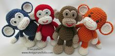 Make this little crochet amigurumi monkey - they are a great way of using up som. : Make this little crochet amigurumi monkey – they are a great way of using up some scrap yarn. Get the FREE crochet pattern and video tutorial NOW … Crochet Monkey, Cute Crochet, Crochet For Kids, Crochet Crafts, Yarn Crafts, Crochet Baby, Crochet Projects, Knit Crochet, Crochet Rabbit